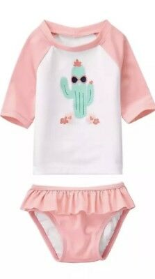 Gymboree 2pc UPF 50+ NEW Cactus Cutie Baby Girl Swimsuit~Size 3-6 months*NWT $30