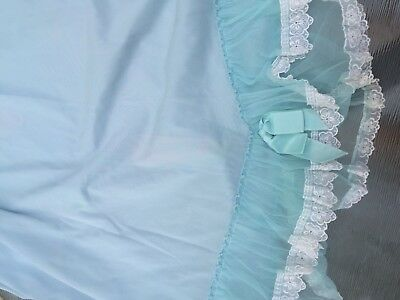 "Vintage Baby Blue slip w delicate lace trim and bow 20"" unstretched waist"