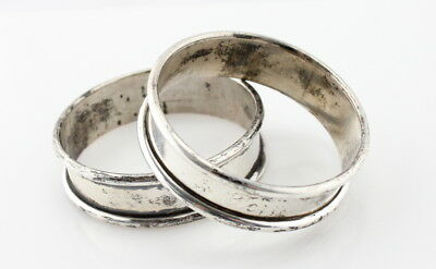 "Wallace Sterling Silver Napkin Rings Matching Pair ""paul"" ""terry"" No Res #2655"