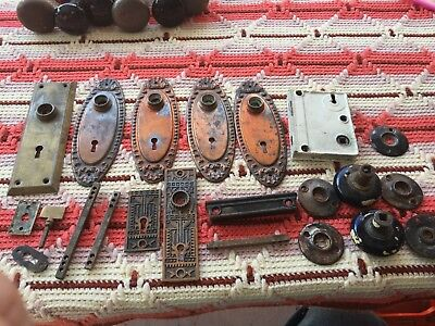 5 Antique Door Knob Metal Plates Lock 22 Pieces House Hard Ware