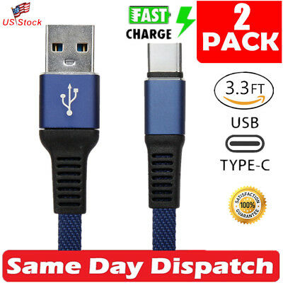 2 x Fast Charging Cable Nylon Braided USB C Type-C Cord For Samsung S8 S9 -Blue