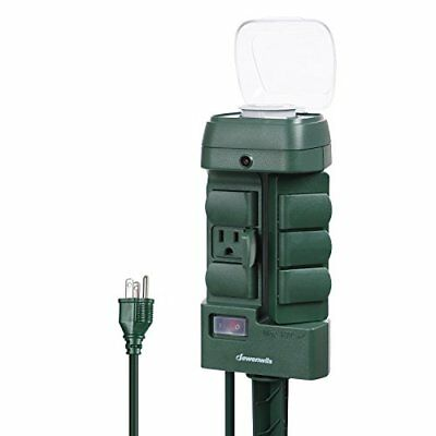 Outdoor Mechanical Power Stake Light Timer 6 Grounded Outlets Waterproof Cover