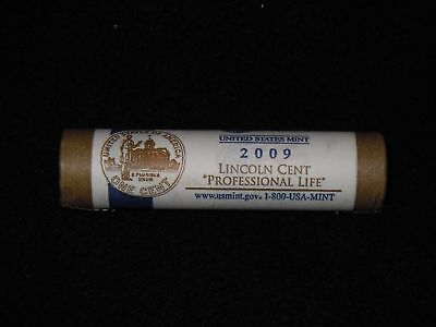 "2009  P   Lincoln  Cents   LP3  ""  Professional Life  ""  Uncirculated  Mint Roll"