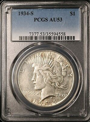 1934-S Peace Silver Dollar - PCGS AU53 - BETTER DATE - ABOUT UNCIRCULATED - #558