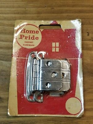 "Vintage NOS CHROME Cabinet Hinges  Lines, 3/8"" Offset Art Deco National"