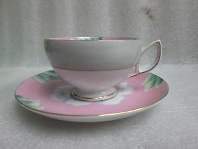 VTG PINK HAND PAINTED SHAFFORD JAPAN DEMITASSE CUP & SAUCER LOTUS ORCHID c 1925