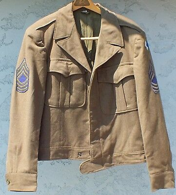 WW2 GI US ARMY IKE JACKET 96th Infantry Division Pacific Theater w Garrison Cap