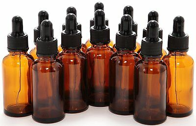 Amber 1oz Boston Round Glass Bottles W/ Glass Droppers 30ML Child Resistant.