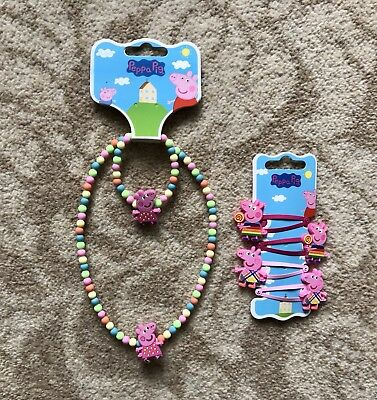 Peppa Pig Necklace and Bracelet Set and Hair Clips - Brand New With Tag