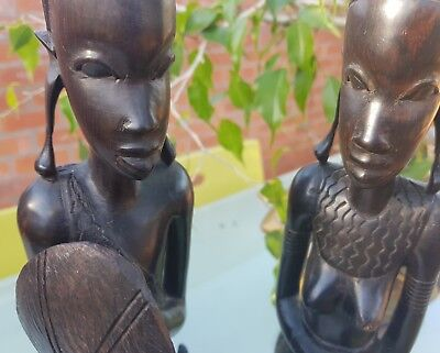 Pair Of Large Carved Ebony Tribal African Figures. Ebony Figures.