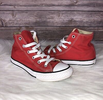 Converse Chuck Taylor Hi Tops Red Size 1 Youth Boys Girls Unisex Kids Shoes