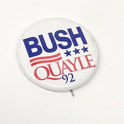 Presidential George Bush Pin Back Campaign President Button 1992 Dan Quayle '92
