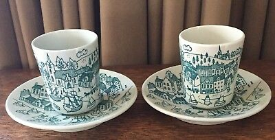 Two VINTAGE NYMOLLE ART FAIENCE DENMARK HOYRUP#4006 Small CUP & SAUCER Demitasse