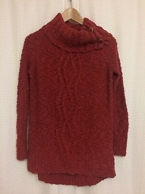 ac7fed809631a5 Anthropologie Moth Burnt Orange Wood Button Cowl Neck Chunky Knit Sweater  Sz Med