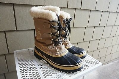 A+ Men Sorel Caribou Leather Boots Brown Tan 9 Snow Winter Waterproof Insulated