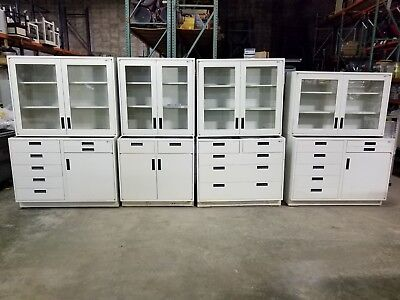 Lot 14 feet Lab Crafters Base Cabinets W/Drawers & Wall Cabinet Casework