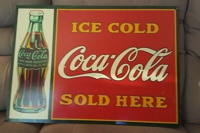 """1930s ICE COLD COCA-COLA TIN MEDAL ADVERTISING ORIGINAL SIGN 28"""" WIDE x 20"""" TALL"""