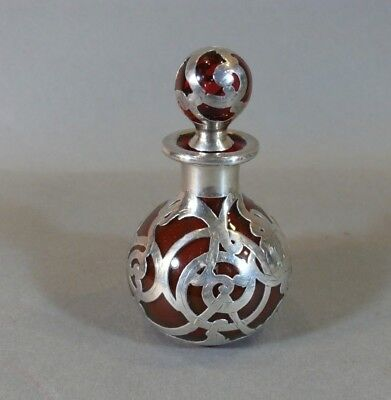 Antique Sterling Silver Overlay Art Nouveau Cranberry Glass Scent Perfume Bottle
