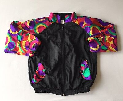 Gear Sport Womens Size Small Full Zip Track Jacket Nylon Shoulder Pads Vtg
