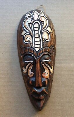 Vtg Costarica Brownish Wooden Hand Carve Decoration Africa Traditional Mask