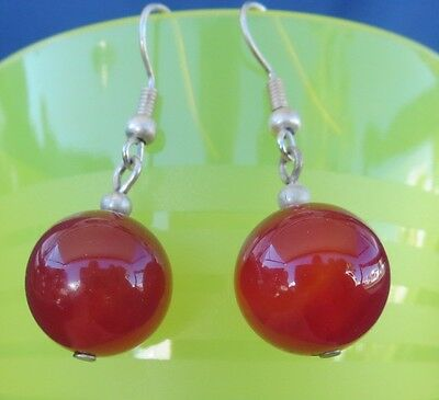 "Glass Pierced Earrings ""Burnt Orange"" Mexican Hanging Smooth Cut Beads Brand New"