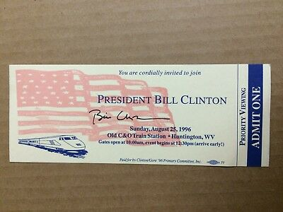 Bill Clinton AUTHENTIC HAND signed Campaign Ticket President