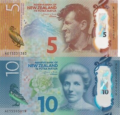 New Zealand 2 Note Set: 5 and 10 Dollars (2015) - p191, p192 UNC