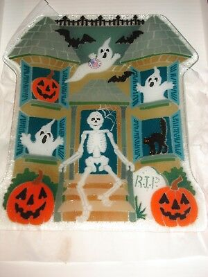 "RARE Peggy Karr Halloween Plate Haunted House Shaped Retired 12"" Original Box"