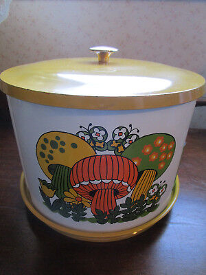 RETRO 1970's JAPAN LAZY SUSAN CANISTER SET - MUSHROOM/BUTTERFLY