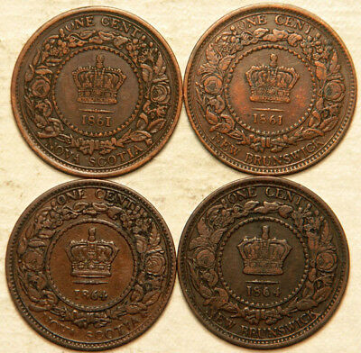 Nova Scotia + New Brunswick (Canada) Lot Of 4 (Four) 1 Cent 1861-1864