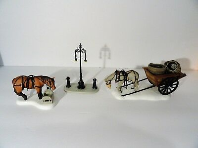"Dept 56 Dickens Village ""Horses At The Lampguard"" set of 3"
