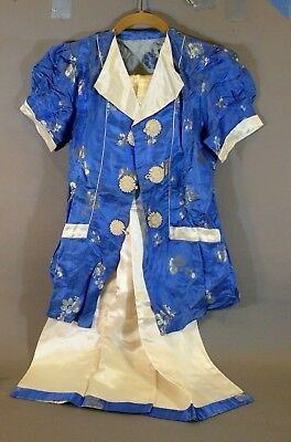 Exclnt China Ladies Embroidered Blue Cream Silk Shirt Pants Pajamas Asian Japan