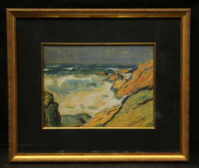 American Antique Early 20th Century Gouache Painting Ocean View with Cliff