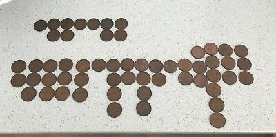 Australian Penny / Pennies Bulk Lot 50 Coins 20 Different Dates - 1921 to 1963