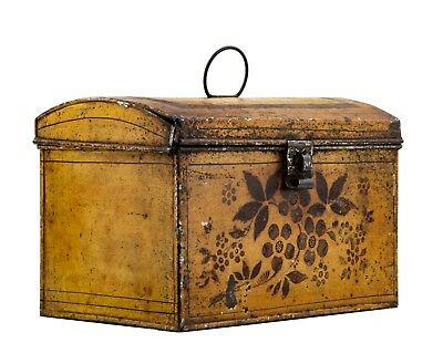 An Antique American Yellow Ground Tole Decorated Document Box