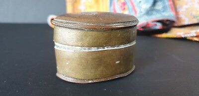 Old Northern India Brass Lime Container / Box …beautiful collection item