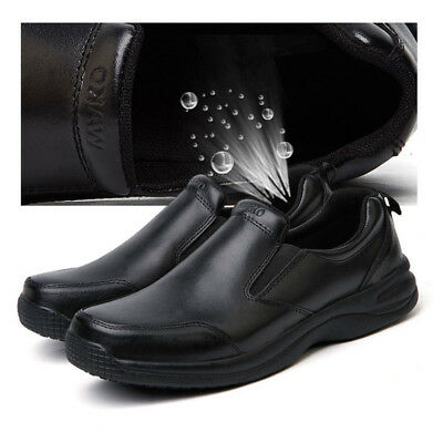 Mens Chef Shoes Leather Non slip Safety for Cook Poly Sheet Toe Cap Black color