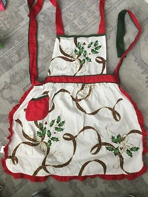 Lenox Full Apron Holiday Nouveau Christmas With Pocket Flaws