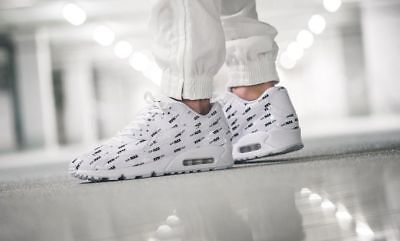 Nike Air Max 90 Premium White Black Logo Just Do It Mens Sneakers Trainers Shoes