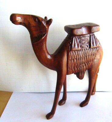 1950's Large Hand Carved Wooden Camel Trip To The Pyramids Souvenir Nice One