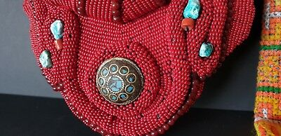 Old Tibetan Red Beaded Traditional Collar Necklace  …beautiful collection piece.