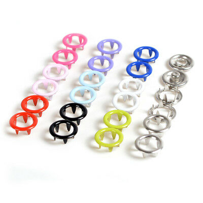 150 Sets 9.5mm 10 Color Prong Ring Press Studs Snaps Fastener Dummy Clips Ribbon