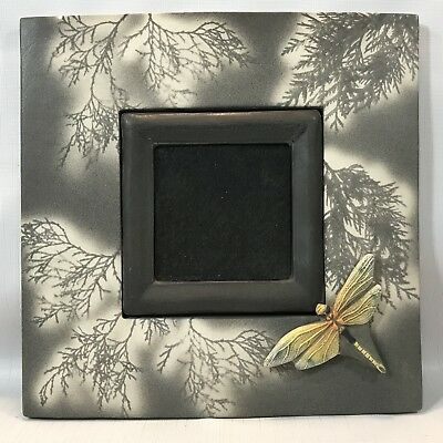 SIGNED Surving Studios Large Art Tile Frame Gray Trees & Yellow Green Dragonfly