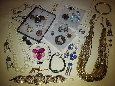 Estate Jewelry Lot! Sterling Silver~Necklaces~Bracelets~Earrings~Brooches~Signed