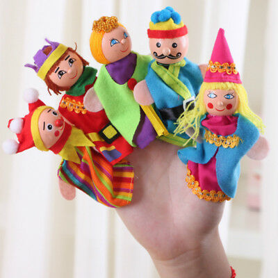 5pcs Family Finger Puppets Cloth Doll Baby Play Game Learn Story Educational Toy