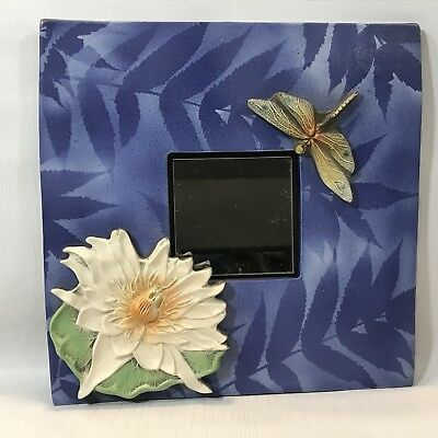 2004 SIGNED Surving Studios Ceramic Tile Frame with Applied Lily pad & Dragonfly