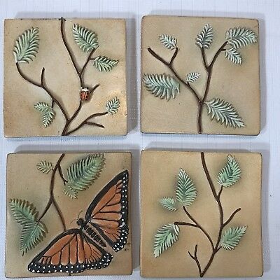 4 Surving Studios Butterfly, Lady Bug and Leaves Ceramic Bas Relief Art Tiles