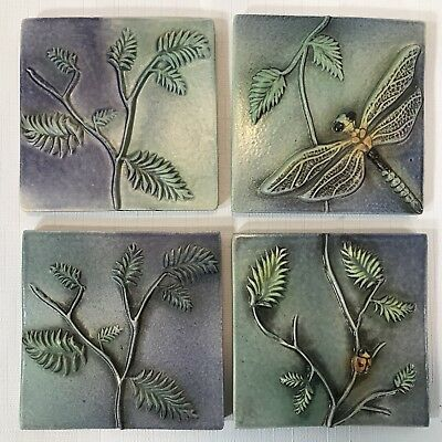 4 Surving Studios Dragonfly, Lady Bug and Leaves Ceramic Bas Relief Art Tiles