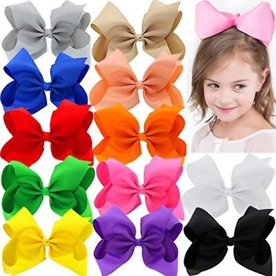 Hair Bows with Clip 8 Inches Large for Girls and Teens 12 Assorted Colors