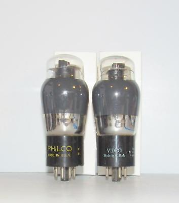 Identical Pair-Sylvania made 6V6G smoked glass amplifier tubes.TV-7 test strong.